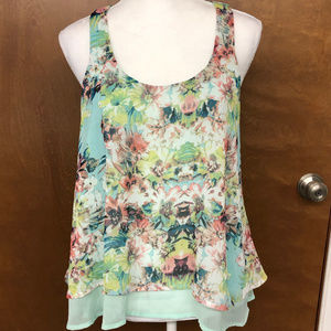 About a Girl 2layer Floral Tank Top